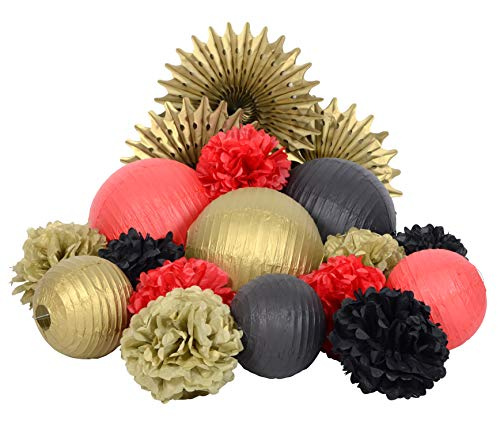 paper jazz Chinese New Year Wedding Birthday Christmas Xmas Party Holiday Home Decoration kit Tissue Paper Lantern pom pom Fan red White Green Black Gold (RED Gold Black) -