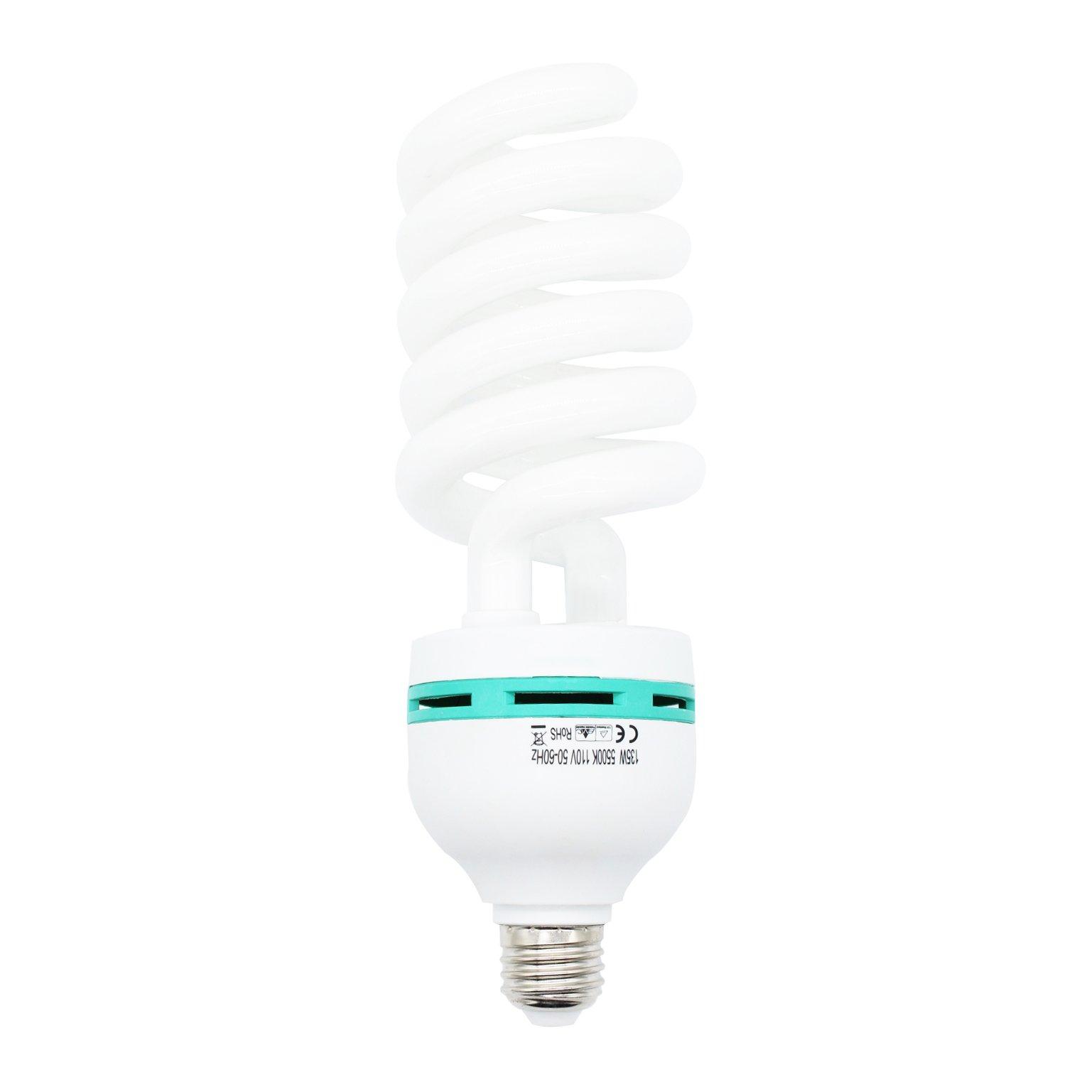 Foto&Tech 135 Watt Daylight Photography Fluorescent Spiral Light Bulb 5500K 110V White for Photography and Video Studio Lighting (1 Pack)