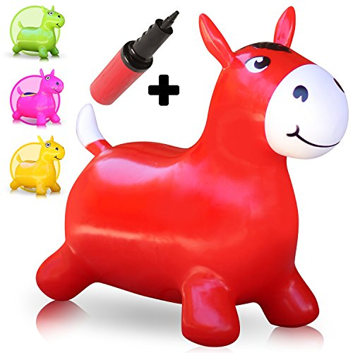 WALIKI Hopping Horse Hopper (Johnny the Bouncy Horse, ridding Horse for kids, pump included red)