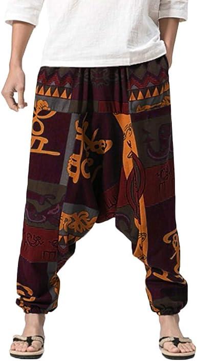 Pantalones Harem Pantalones Para Festival Hombres Hippie De Lino ...
