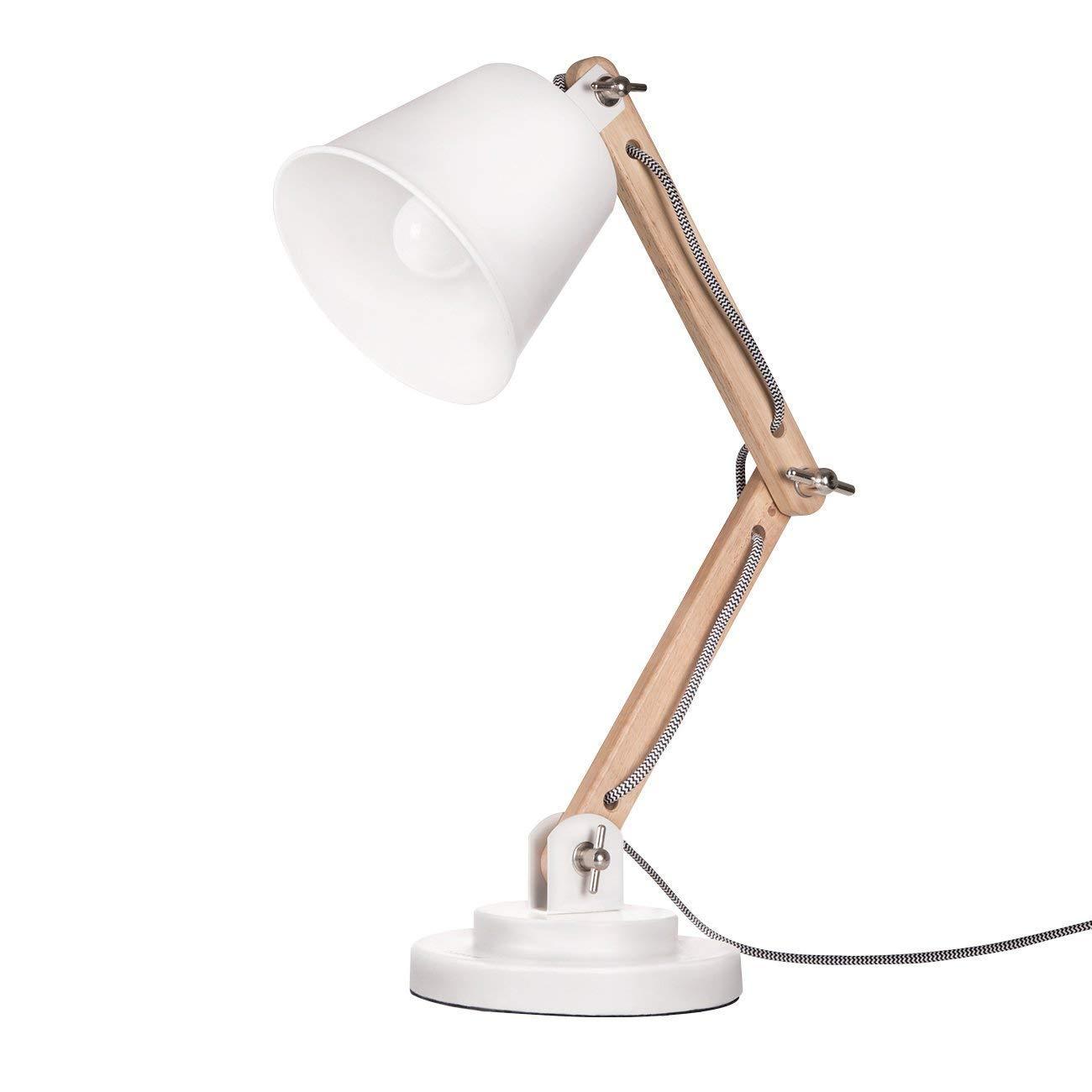 tomons DL1002US-W Tomons Natural Wood Desk Lamp, Vintage Table Lamp for Bedside, Workroom, Cabinet, Studio, Cafe, Living Room – White