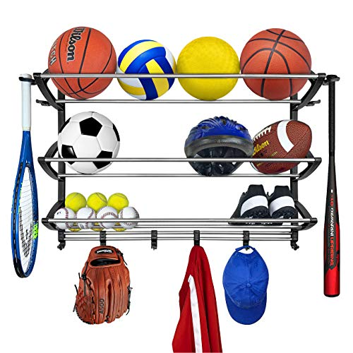 - Lynk Rack with Adjustable Hooks Equipment Organizer/Sports Gear Storage, Black