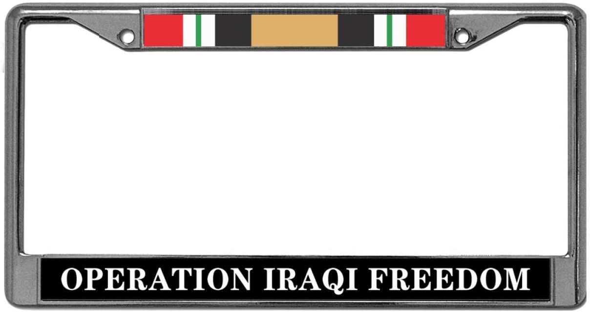 GND Operation Iraqi Freedom Stainless Steel Car Licence Plate Covers,Iraq Veteran Army Handmade Waterproof License Plate Polish White for US Vehicles
