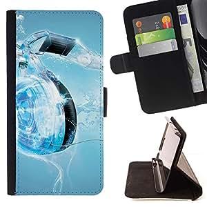 For Samsung ALPHA G850 Case , Water Music Corazón- la tarjeta de Crédito Slots PU Funda de cuero Monedero caso cubierta de piel