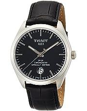 ساعة للرجال من تيسوت بمينا ساعة اسود وسوار جلدي - T101.451.16.051.00