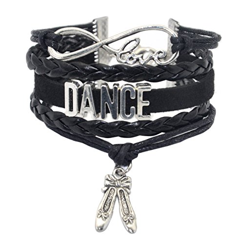 HHHbeauty Girls Dance Bracelet Dancing Cute Belly Ballroom Just Dance Charm Bracelet for Women,Girls,Men,Boys,Teens Dancers Infinity Love Charm, Letters, Dance Shoes (Black) ()