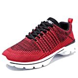 Ritiriko Mens Trainers Road Running Shoes Athletic Sneakers for Walking Gym Sport Red/White 9 UK