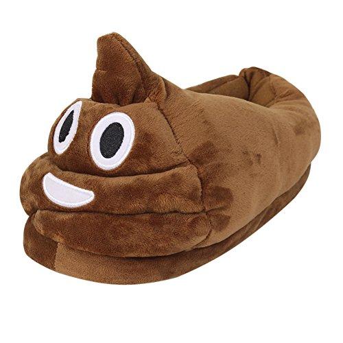 Emoji Plush Slipper ,Plush Home Slippers, Soft Cute Cartoon Naughty Antislip Indoor Slippers Winter Warm Shoes for Women and Men, Brown, 4.5-9.5 UK D / 35-41 EU