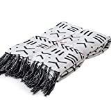 LakeMono 100% Cotton Knitted Blanket Black White Two Sides Jacquard Couch Throw Blanket Handmade Tassels (52''x 63'')