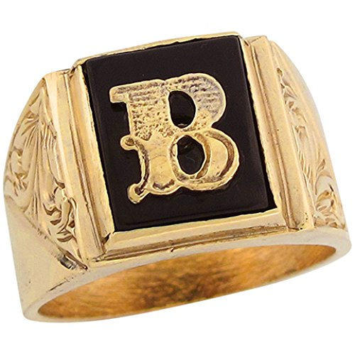 Jewelry Liquidation 14k Real Gold 12x10mm Rectangle Onyx Letter B Fancy Mens Initial Ring - Mens Onyx Initial Ring