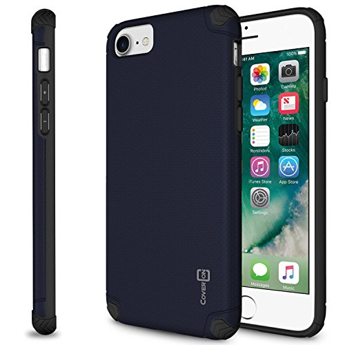 (CoverON Bios Series Fit iPhone 8 Slim Case, iPhone 7 Slim Case, Minimalist Thin Protective Hard Phone Cover with Embedded Metal Plate for Magnetic Car Mounts - Navy)