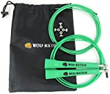 WOD Nation Speed Jump Rope – Blazing Fast Rope for Endurance training for Sports like Cross Fitness, Boxing, MMA, Martial Arts or Just Staying Fit – Fully Adjustable to Fit Men, Women and Children – GREEN For Sale