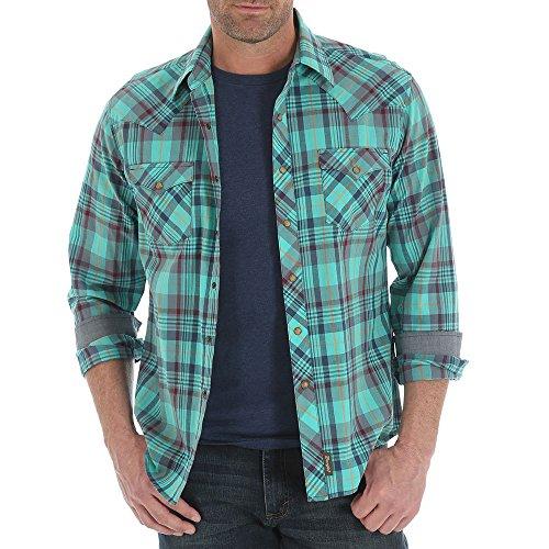 Wrangler Men's Retro Long Sleeve Western Shirt Tall Teal Large (Retro Western Shirts For Men)