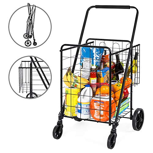 Best Choice Products 24.5x21.5in Portable Folding Multipurpose Steel Storage Utility Cart Dolly for Shopping, Groceries, Laundry w/Bonus Basket, Swivel Double Front Wheels - Black