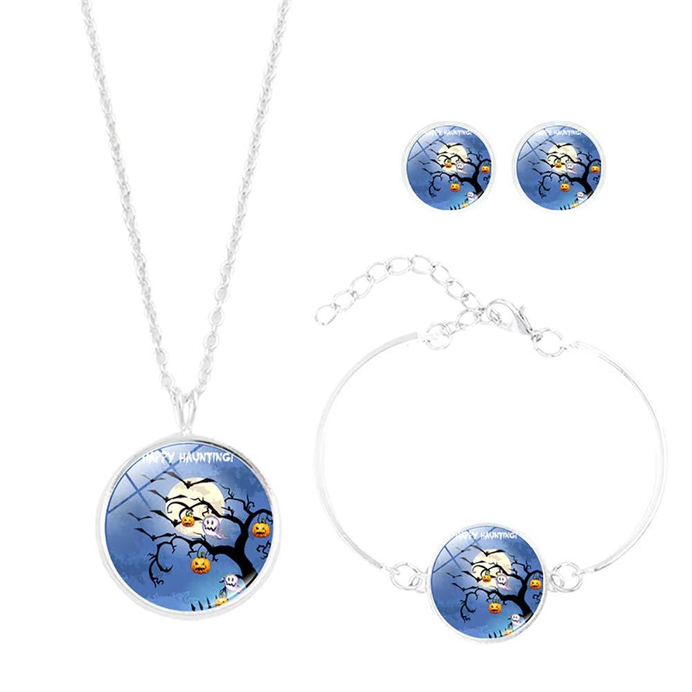 Wansan Halloween Halskette Armband Ohrstecker Kürbis Bilder hängende Anhänger Lange Kette Glaskunst Charm Schmuck Set