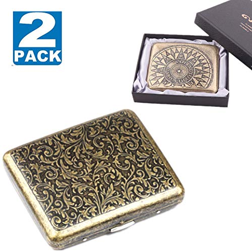 Cigarette Case & Dispensers 2 Boxes King Size (18-20 Capacities Gold Grass + Compass) Sturdy Cigarette Holder Metal Cigarette Accessories - Gold (Gold Metal Cigarette Case)
