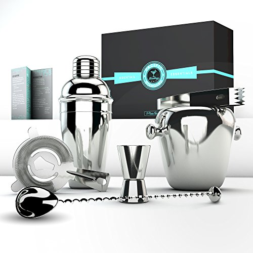 Bartending Kit Professional Executive Barware Set - Martini Shaker Set and Bar Tools By Pacific - Draper Don Look