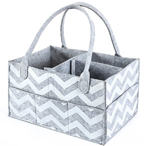 Baby Diaper Caddy Organizer By Brolex: Large Capacity Nursery Organizer For Boys Girls–Unisex Portable Travel Organizing Basket With Lightweight, Sturdy & Versatile Design,Grey/White Chevron