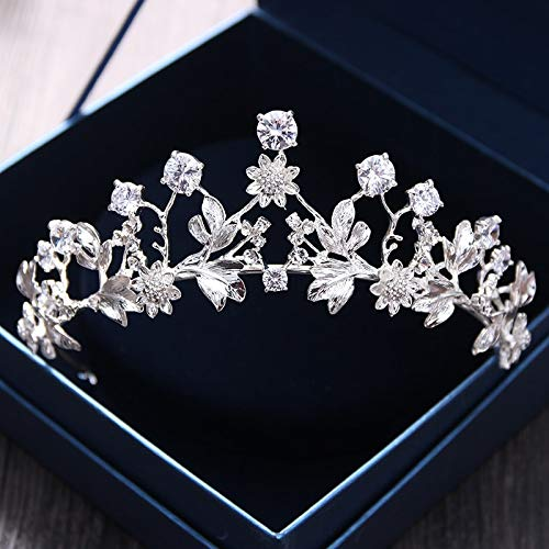 (Zirconium Metal Flower Headdress Zirconia Crown Tiara Diadem Hair Accessories Bridal Hair Jewelry Bride Bridesmaid Wedding Birthday Party Princess Birthday Party Boutique Wigo1049 Crown-C8261)