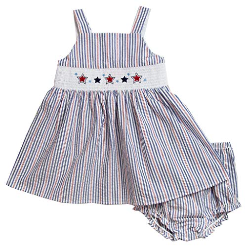 Good Lad Girls Dress - Good Lad Newborn/Infant Girls Seersucker Smocked July 4th Dress with Matching Panty (12M) Navy