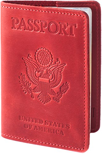 Price comparison product image FASTONI Genuine Leather Passport Cover Holder Case - 8 Colours Luxury Protection (Red Rose)