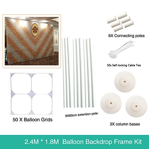 7.8 ft x 6 ft Latex Balloon Wall Backdrop For Wedding Party Photo Booth - 2.4M 1.8M (WH)