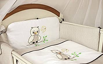 3 Piece Nursery Bedding Set with Bumper To Fit Cot Bed & Cot - Owls (Cot Bed 140 x 70cm, Blue) Babycomfort