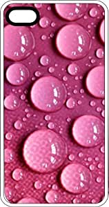 Pink Water Droplets White Rubber Case for Apple iPhone 4 or iPhone 4s