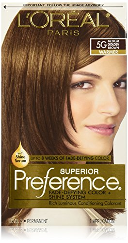L'Oreal Paris Superior Preference Fade-Defying Color + Shine System, 5G Medium Golden Brown(Packaging May Vary)
