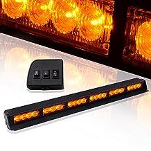 "TURBOSII 22 LED 19"" Traffic Advisor Emergency Warning Directional Light Bar Kit Vehicle Strobe Flash Mini Interior LED Dash Light Bar,Yellow"