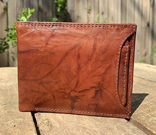 Handmade Men's Leather Wallet - Flip ID Card Holder - 100% Leather