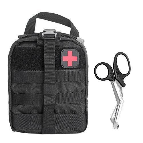 Tactical MOLLE Rip-Away EMT Medical First Aid Utility Pouch (Black with First Aid - Buckle Extreme Web