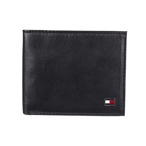 Tommy Hilfiger Men's Bifold Wallet - Leather Slim Thin Classic Billfold for Men with Credit Card Slots, Dark Black, One Size