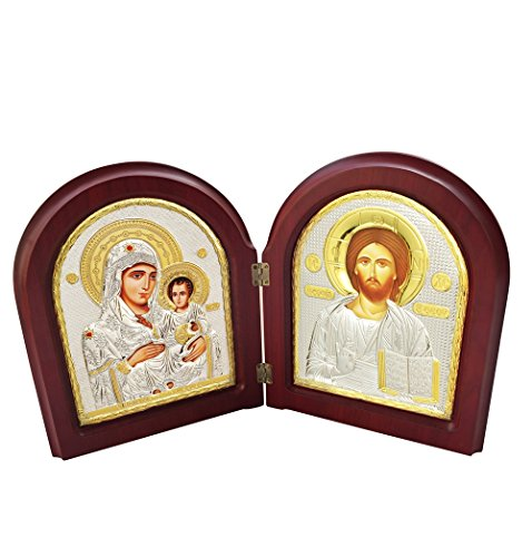 FengMicon Greek Orthodox Church Catholic Icon Wooden Diptych of Virgin Mary Jerusalem and Jesus by FENGMICON