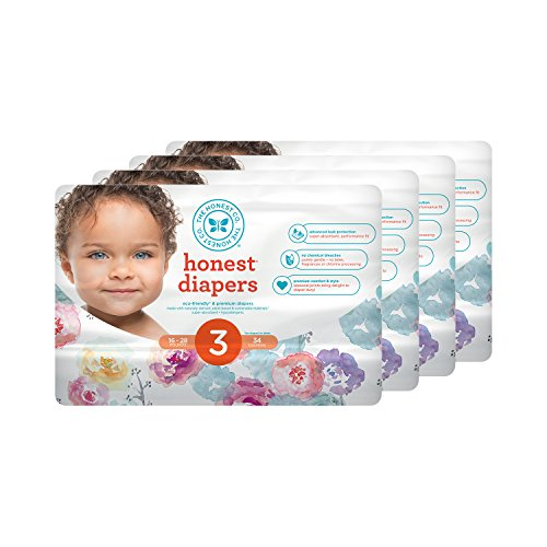 Honest Baby Diapers, Rose Blossom, Size 3, 136 Count