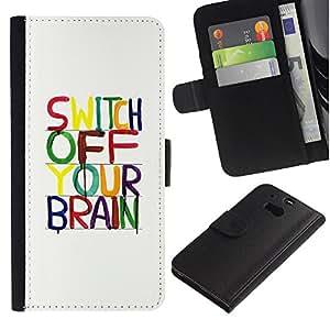 WINCASE ( No Para HTC ONE Mini 2) Cuadro Funda Voltear Cuero Ranura Tarjetas TPU Carcasas Protectora Cover Case Para HTC One M8 - cerebro de motivación relajarse meditación