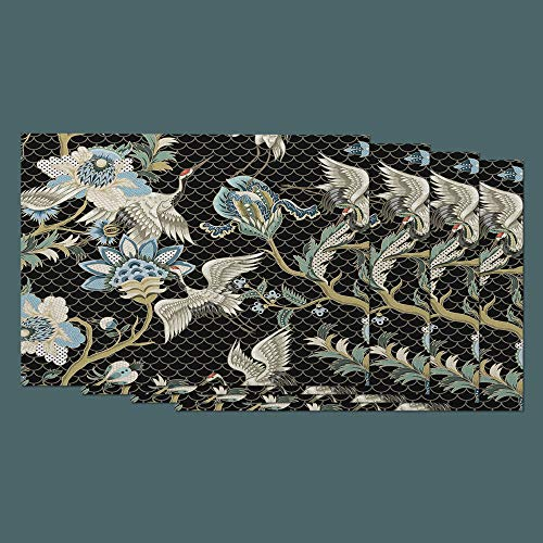 (Moslion Crane Place Mats Set of 4. Bird Floral Paisley Mermaid Sequin Peony Flower Washable Fabric Placemats for Dining Room Kitchen Table Decor)