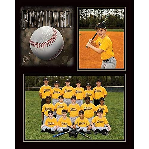 Play Hard Baseball Player/Team 7x5/3.50x5 Sports Mates cardstock Double Frame Sold in 10's - 5x7