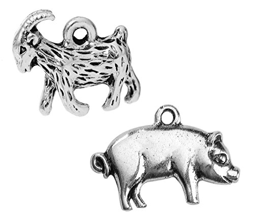 - Farming Charm Pendants 50 Pack, Silver Tone