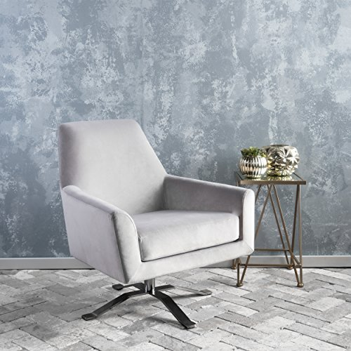 Aegis Grey New Velvet Swivel Club Chair