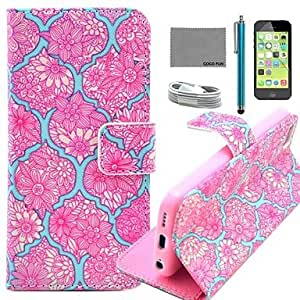 QJM Red Flower Tattoo Pattern PU Leather Full Body Case with Film and USB Cable and Stylus for iPhone 5C