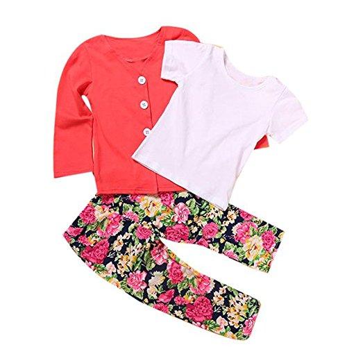 Susenstone 1Set Kids Toddler Girls Long Sleeve T-Shirt Tops+Coat+Pants Outfits (2T)