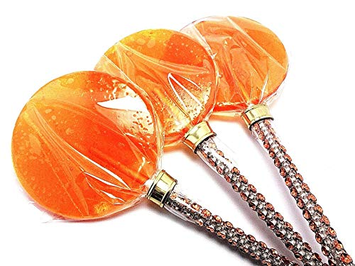 12 - ORANGE LARGE 2.5 INCH LOLLIPOPS ON BLING STICK - PERFECT WEDDING FAVORS