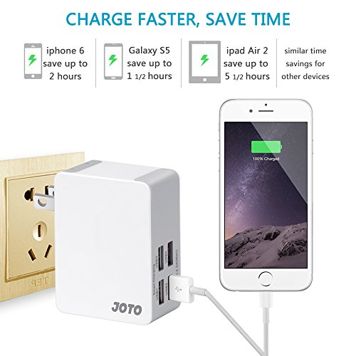 80%OFF JOTO 4 Ports USB Wall Charger Power Adapter (25W/5A) with