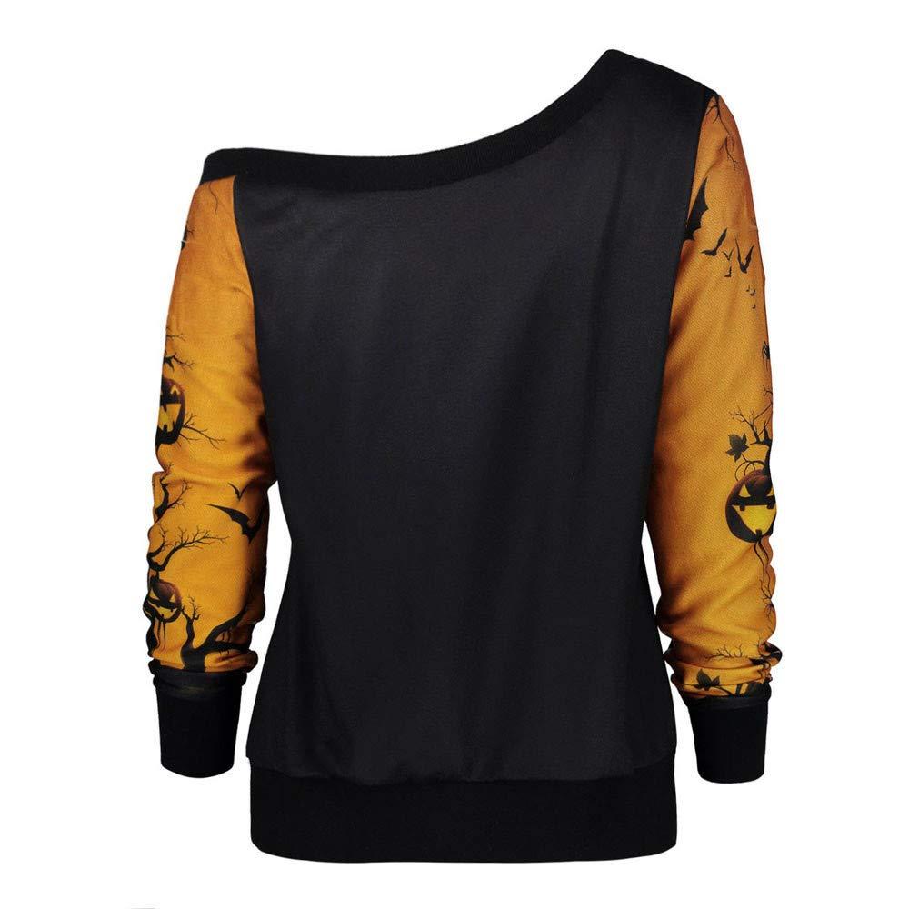 STORTO Women Halloween Party Skew Neck Tops Pumpkin Print Sweatshirt Jumper Pullover