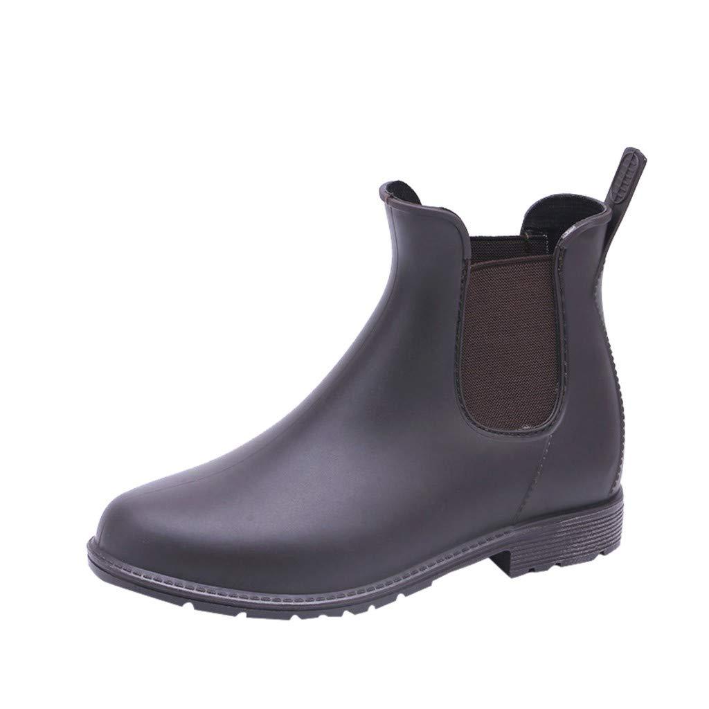 Kauneus Women's Ankle Rain Boots Fashion Elastic Chelsea Booties Anti Slip Waterproof Slip On Short Rain Booties Brown