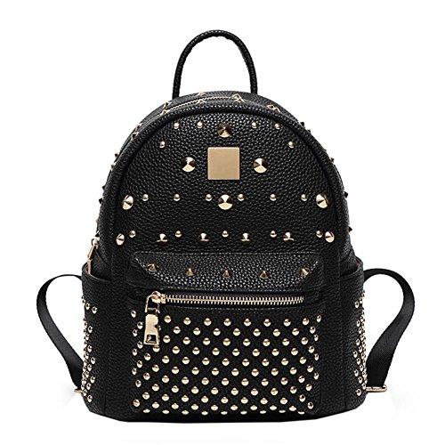 WTUS Mujer grandes bolsos de cuero de remaches mochila mochila mochila de cuero a Inglaterra de los estudiantes negro