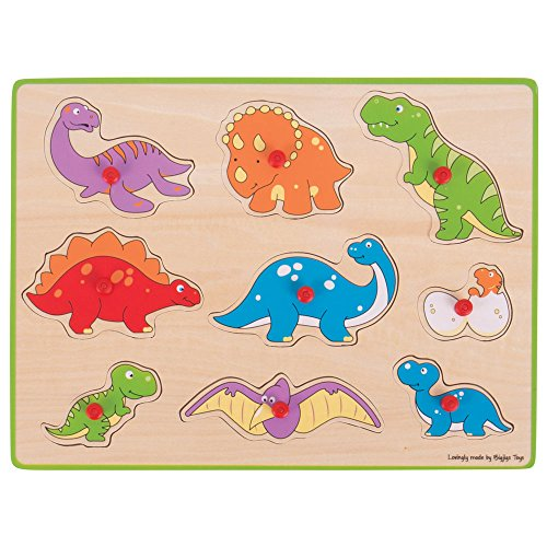 Bigjigs Toys Chunky Lift Out Puzzle - Dinosaurs, - Peg Puzzle Puzzled