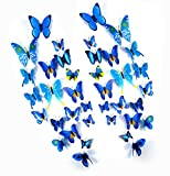 Large Bathroom Mirror Makeover FLY SPRAY 24 Pcs 3D Artificial Blue Butterfly Removable Mural Wall Stickers Wall Decal For Home Decor Nursery Decoration