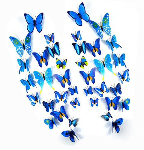FLY SPRAY 24 Pcs 3D Artificial Blue Butterfly Removable Mural Wall Stickers Wall Decal For Home Decor Nursery - Catalog Online Bicycle Quality Products